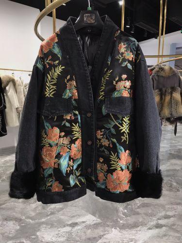 Джинсовая куртка с норковым мехом