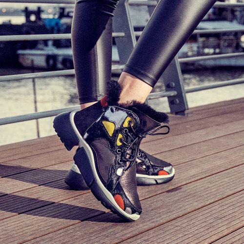 Фото Ботинки-кроссовки женские кожаные+мех - ukrfashion.com.ua