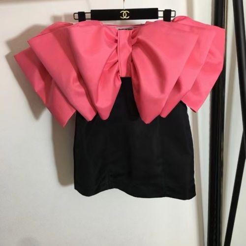 Сексуальное платье короткое с розовым бантом