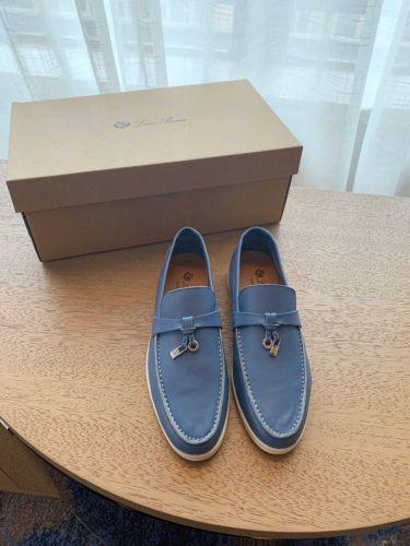 Синие кожаные лоферы