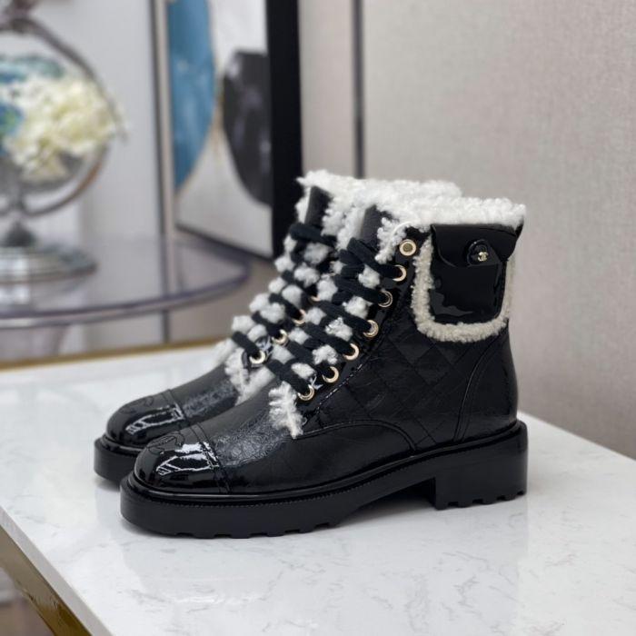 Фото Женские ботинки на шнуровке из натуральной кожи, мех - овчина - ukrfashion.com.ua