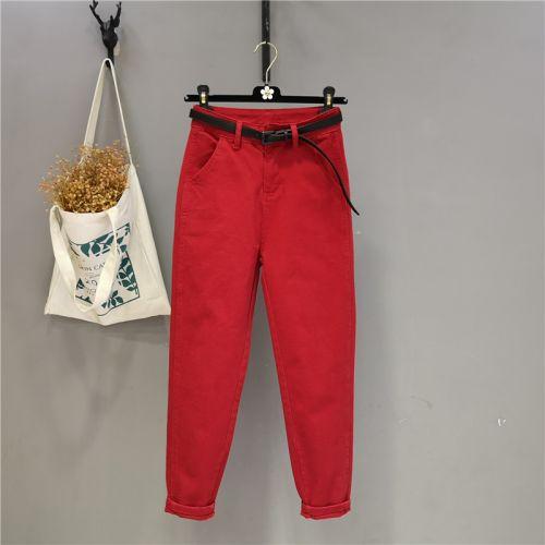 Джинсы женские красные, с высокой талией, эластичные, свободные