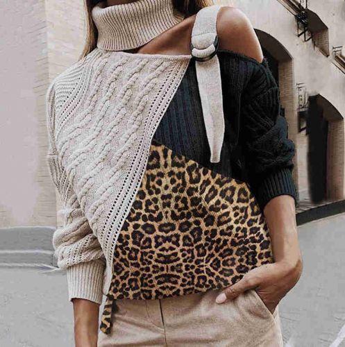 Фото Дизайнерский свитер с леопардовым принтом, пуловеры с длинными рукавами - ukrfashion.com.ua