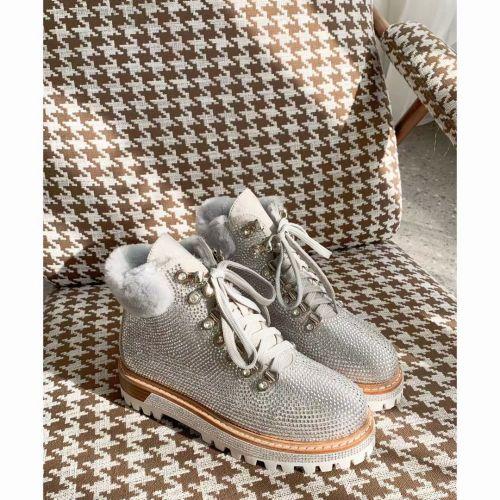 Роскошные зимние ботинки, натуральная кожа, мех, камни Сваровски