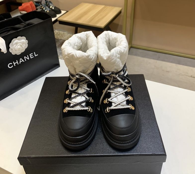 Фото Супер модные черно-белые женские зимние ботинки, натуральная кожа - ukrfashion.com.ua