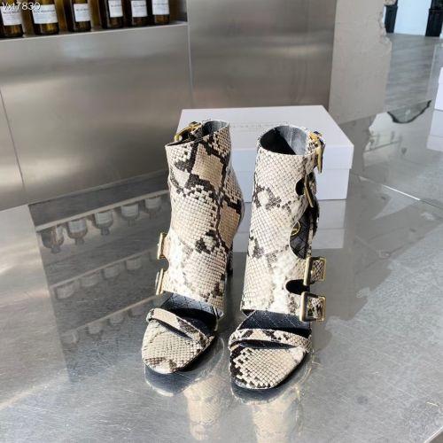 Женские босоножки на высоком каблуке, бежевая кожа питона