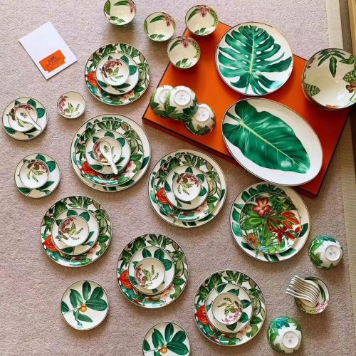 Набор посуды из фарфора, 53 элемента, тропический стиль