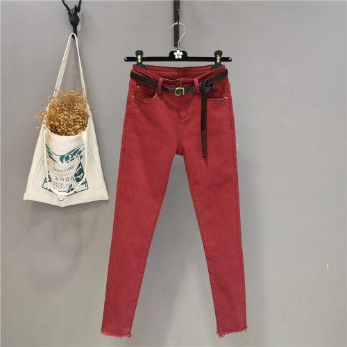 Джинсы-карандаш женские красные весенние, эластичные, облегающие
