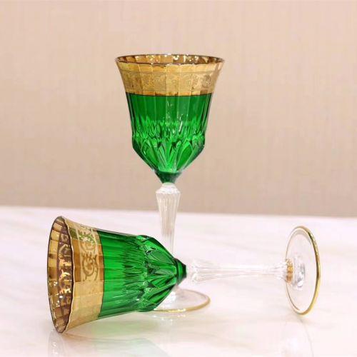 Бокал для вина из чешского хрусталя с позолотой 24K и лазерной гравировкой ручной работы