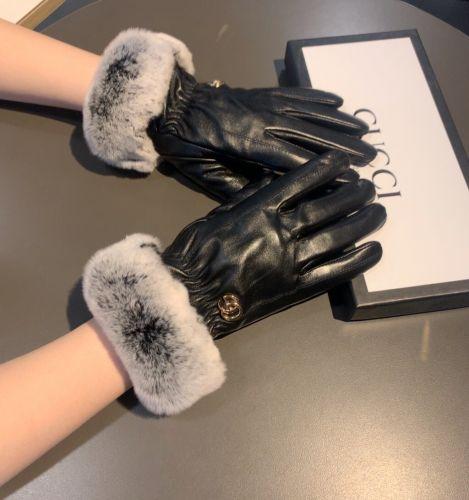 Перчатки кожаные с мехом кролика