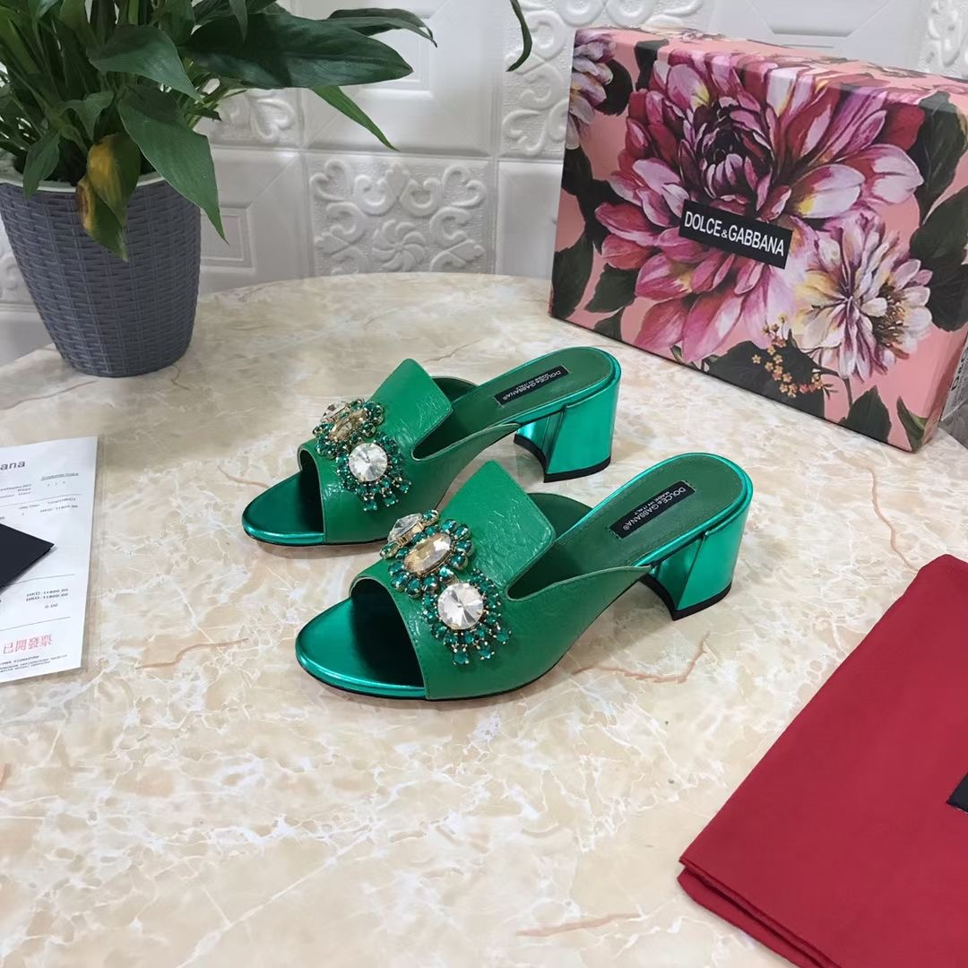 Dolce & Gabbana Босоножки из коллекции 2021 года, цвет зеленый, натуральная кожа
