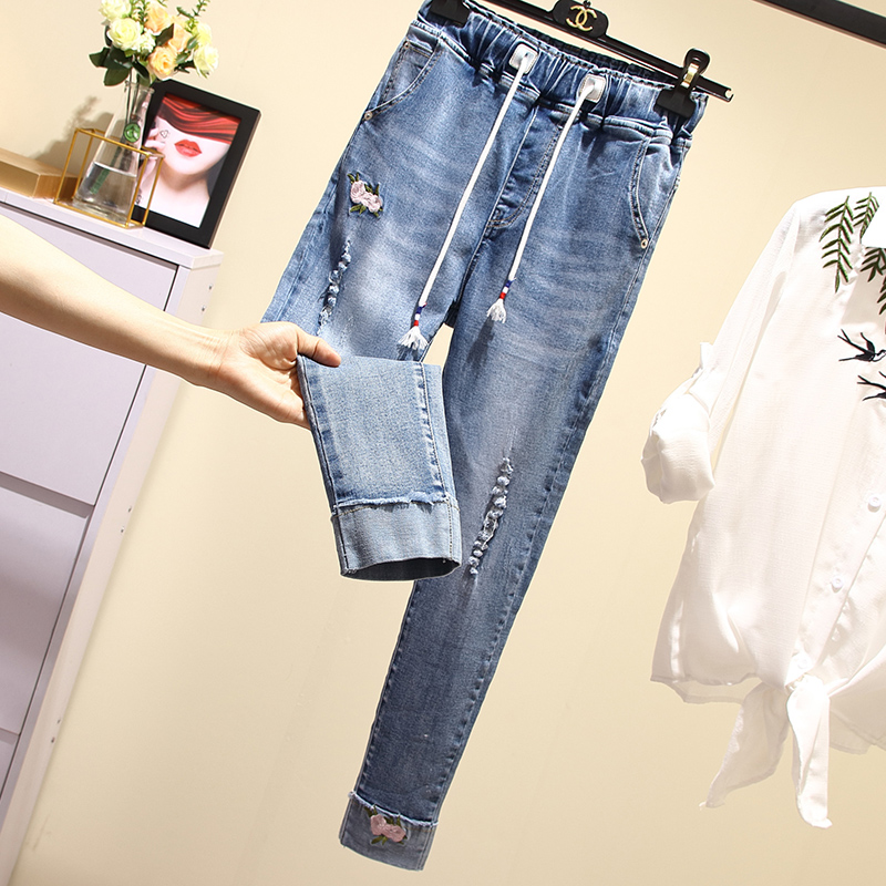 UkrFashion Джинсы женские свободные модные на резинке