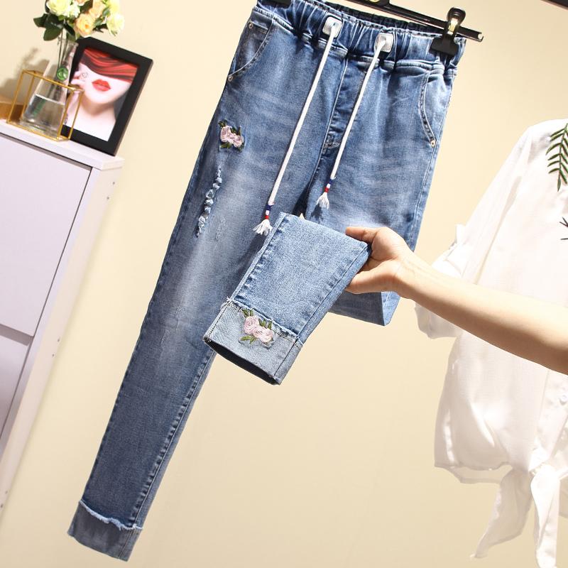 Фото Джинсы женские свободные модные на резинке - ukrfashion.com.ua