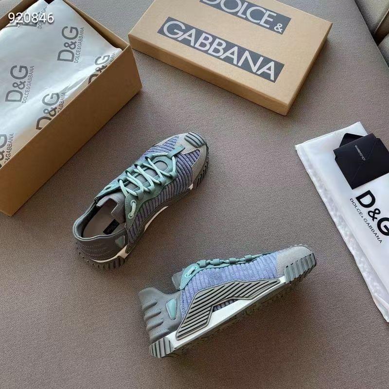 Dolce & Gabbana Стильные женские кроссовки розовые и голубые Four Seasons 2021
