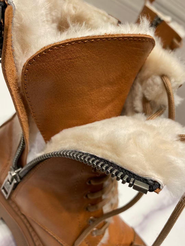 Balenciaga Зимние женские ботинки из натуральной кожи