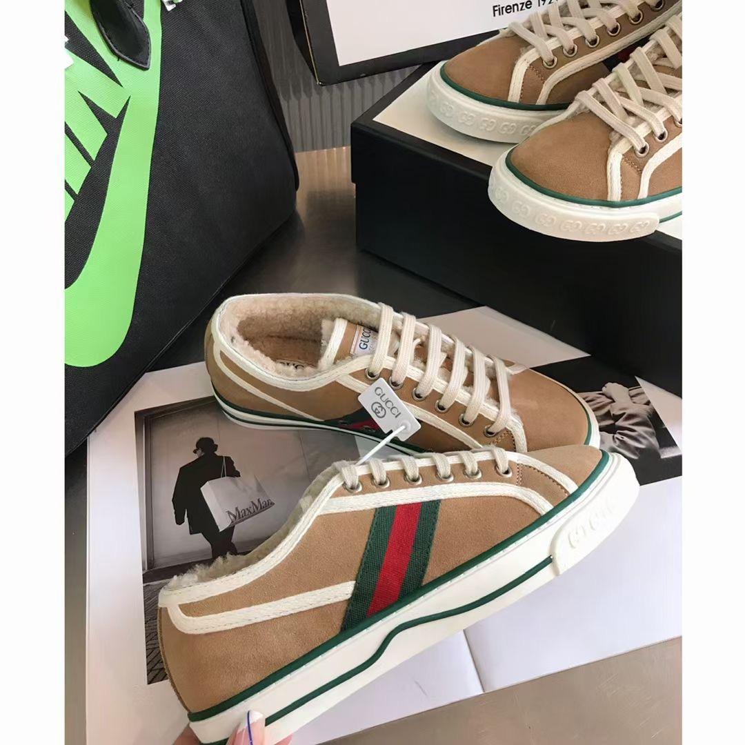 Gucci Кроссовки с мехом зимние цвет хаки