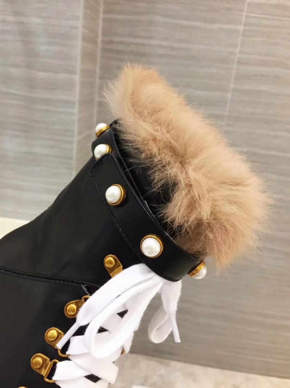 Gucci Женские кожаные ботинки зимние на меху