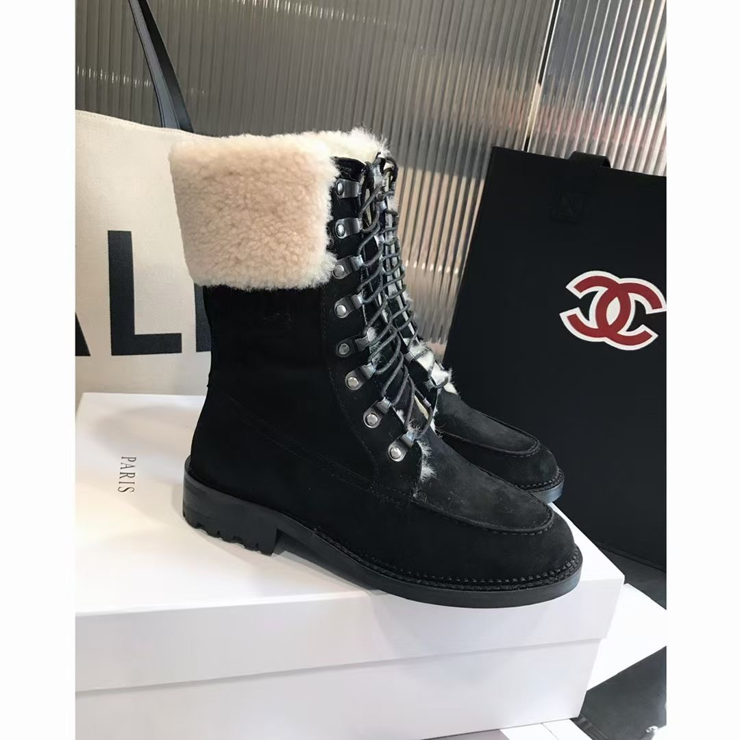 Chanel Ботинки женские зимние, натуральная замша, овчина