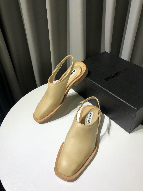 JIL SANDER Туфли женские, натуральная кожа, цвет бежевый
