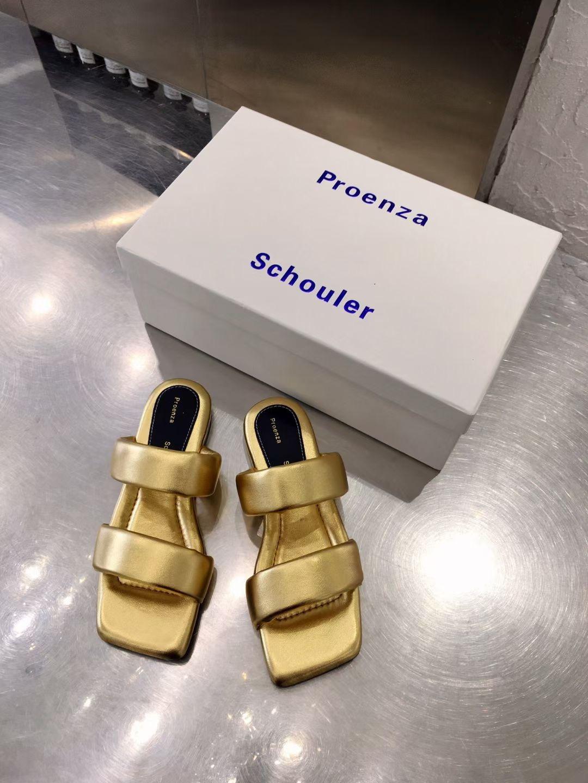 Proenza Ультрамодные женские сандалии, цвет золотой