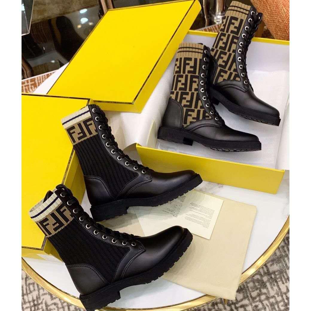 Fendi Ботинки женские кожаные с носком