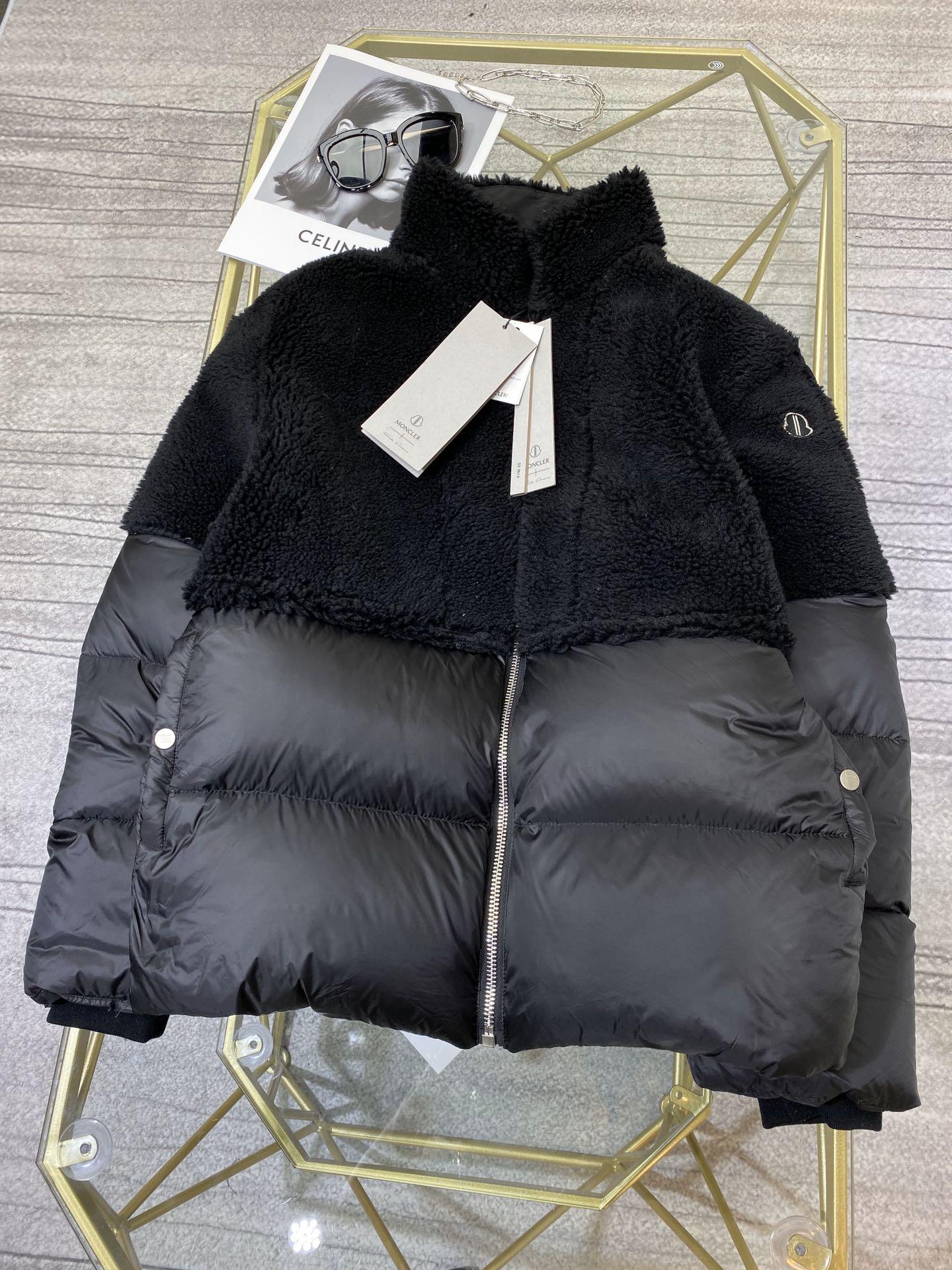 Фото Женский зимний пуховик черный, верх натуральная овчина - ukrfashion.com.ua
